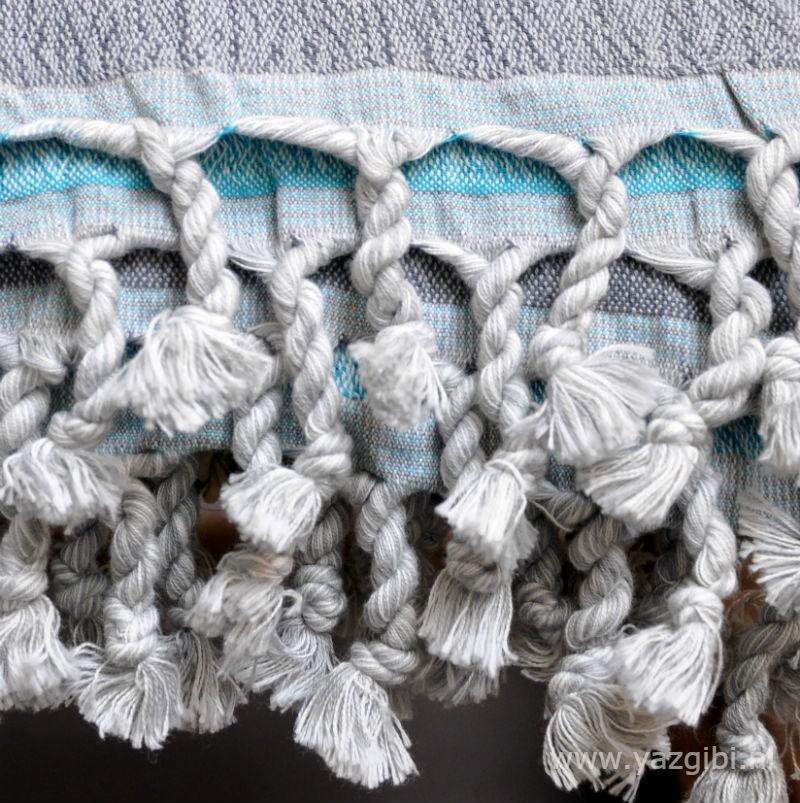 yazgibi hamamdoek double grey turquoise detail