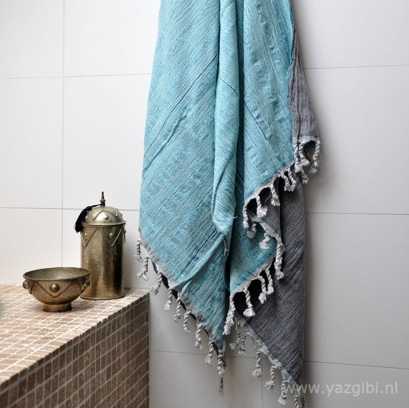 yazgibi hamamdoek double turquoise grey