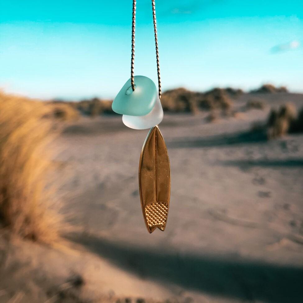 zeeglas surfplank ketting zilver duin voor