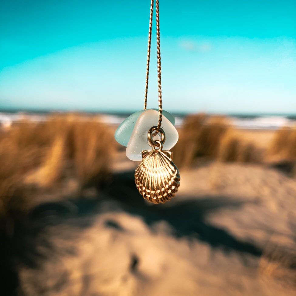 zeeglas schelp ketting zilver duin