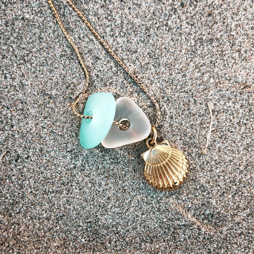 zeeglas schelp ketting zilver zand