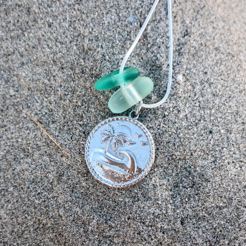 zeeglas hangertje zilver rond