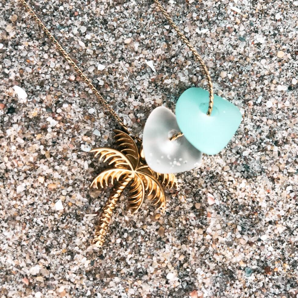 zeeglas ketting goud palmboom